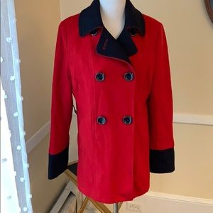 Nautica Red/Navy Pea Coat in Medium EUC!